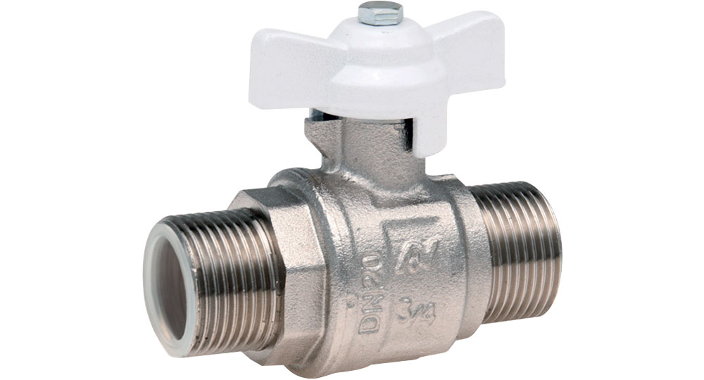 Industrial ball valve full bore M.M. with white butterfly handle for oxygen. EN10226 THREAD