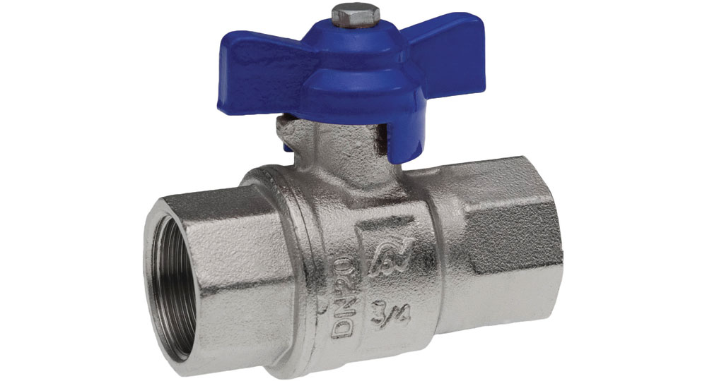 Industrial ball valve full bore F.F with blue butterfly handle for compressed air. EN10226 THREAD