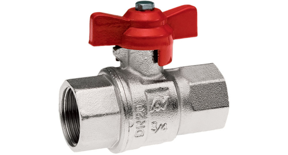 Industrial ball valve full bore F.F. with red butterfly handle. EN10226 THREAD