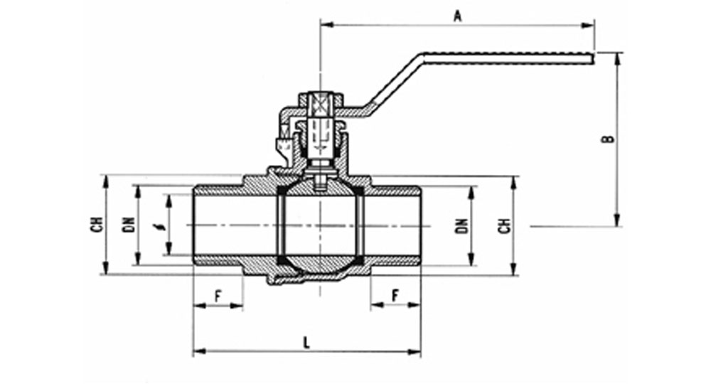 Industrial ball valve full bore M.M. with red handle (screwed iron). EN10226 THREAD