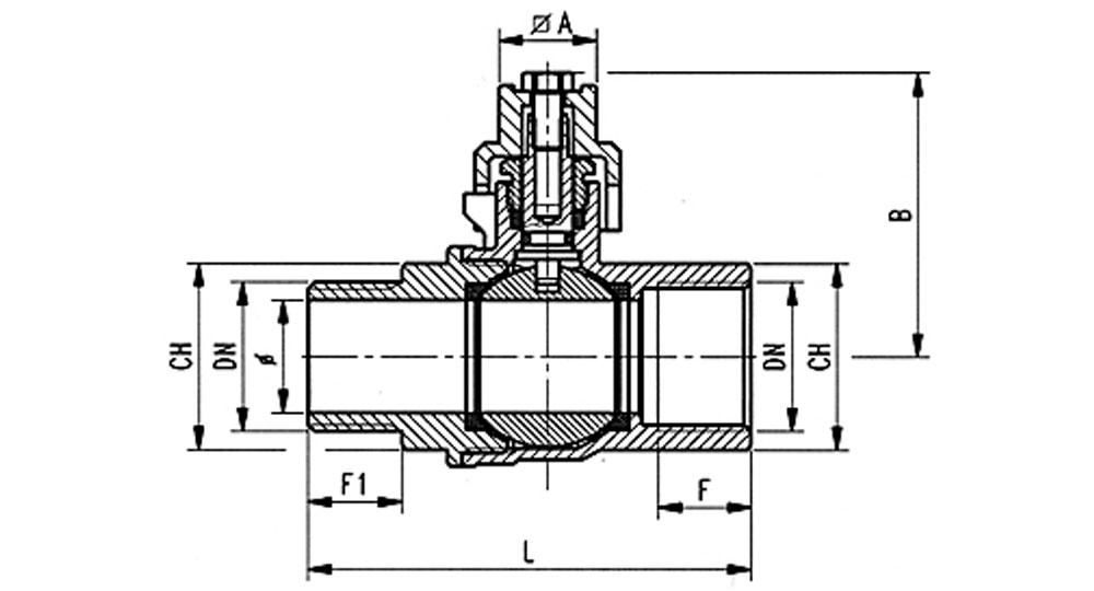 Industrial ball valve full bore M.F. with locking cap. EN10226 THREAD