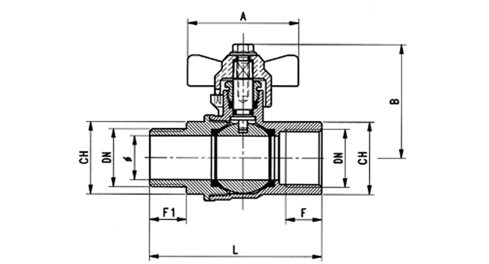 Industrial ball valve full bore M.F.with blue butterfly handle for compressed air. EN10226 THREAD