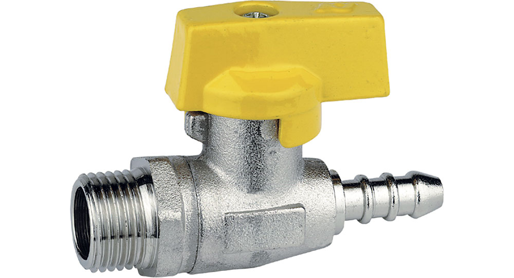 Liquid gasstraight cut off valve M.,hose carrier for pipe with inside ø 8 mm (UNI 7140).