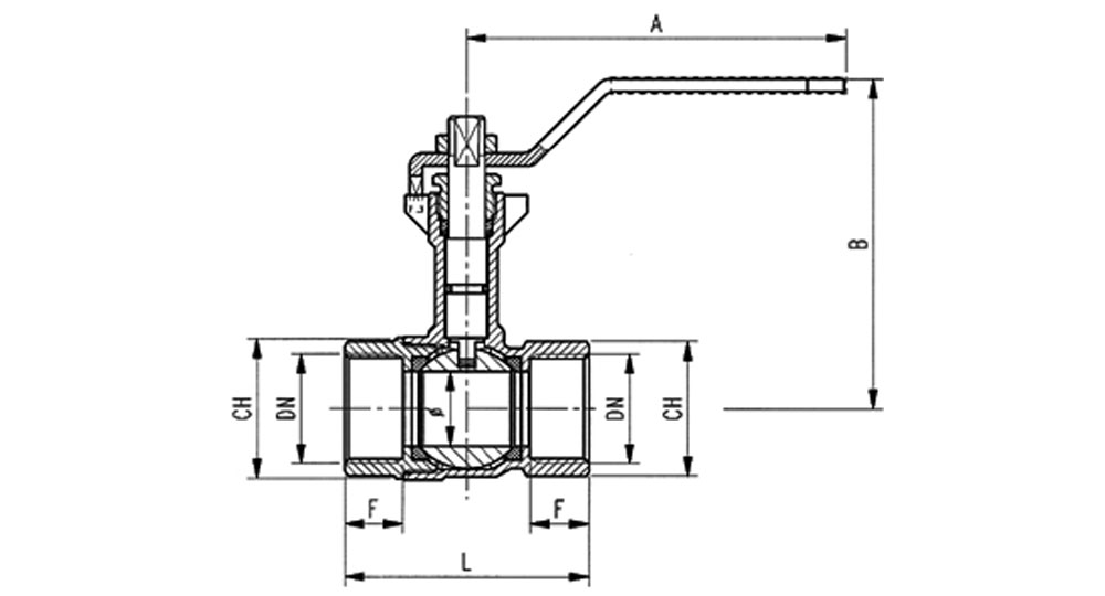 Ball valve reduced bore F.F. with extension - red handle (screwed iron).