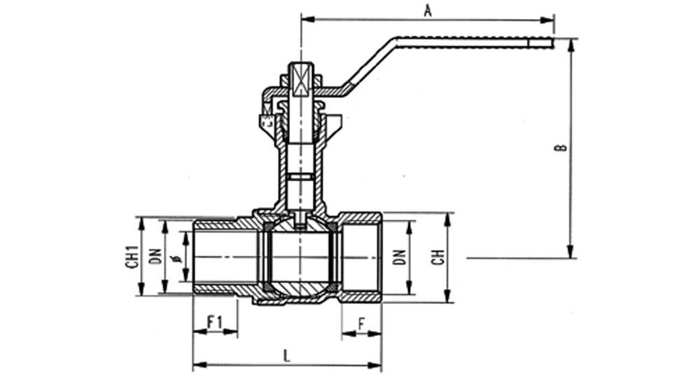 Ball valve reduced bore M.F. with extension - red handle (screwed iron).
