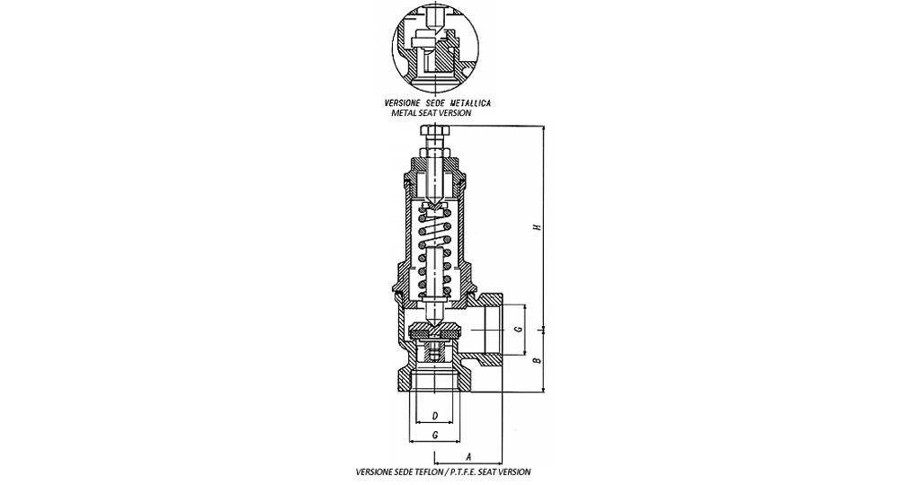 Angled pressure relief valve. P.T.F.E. SEAT