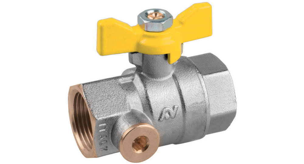 Ball valve for gas full bore F.F. with pressure test point with butterfly handle.According to UNI 7129-1:2015 EN10226 THREAD