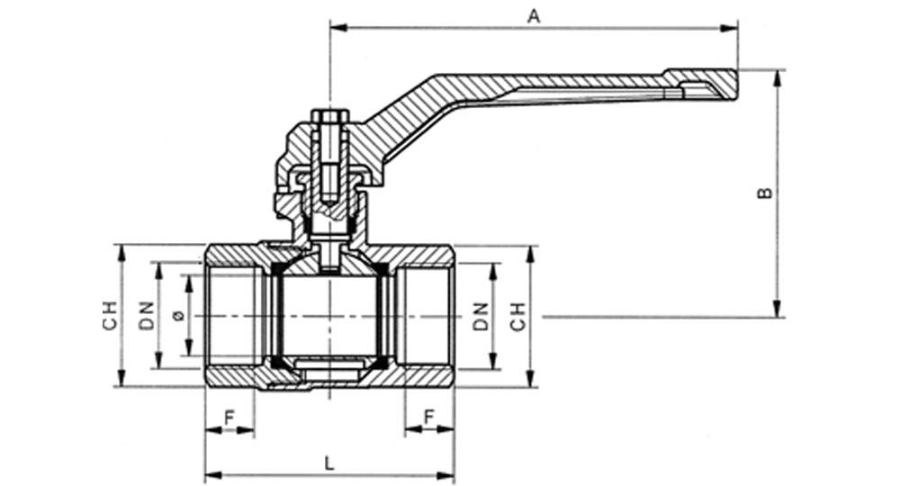Universal ball valve full bore F.F. with red aluminium lever handle.