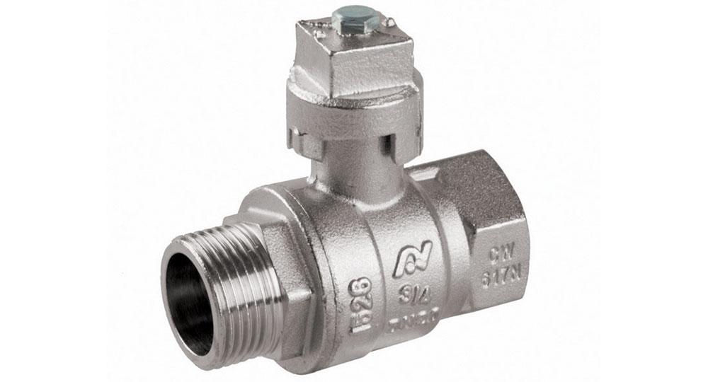 Universal ball valve full bore M.F. with locking cap.