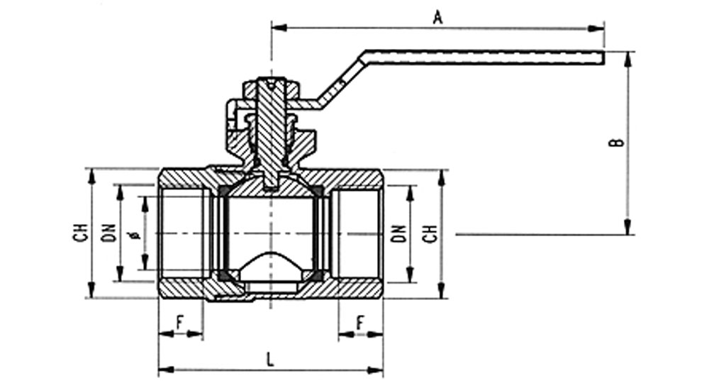 Ecological ball valve full bore F.F.  with green handle (screwed iron).
