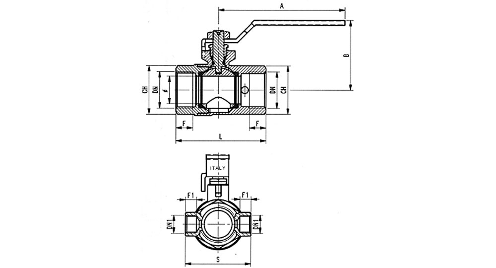 Ecological ball valve full bore F.F. with plugand drain cock, green handle (screwed iron).