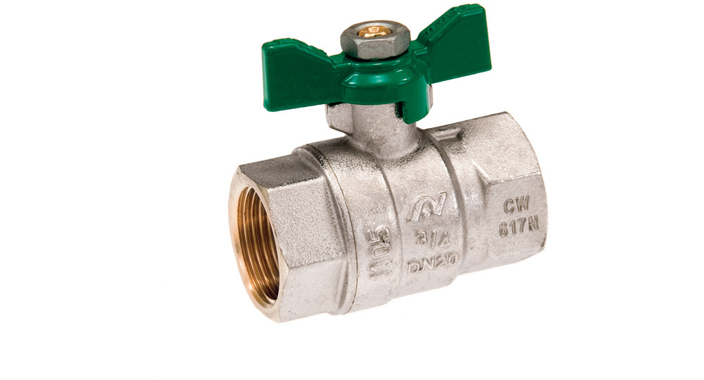 Ecological ball valve full bore f.f. with green butterfly handle.