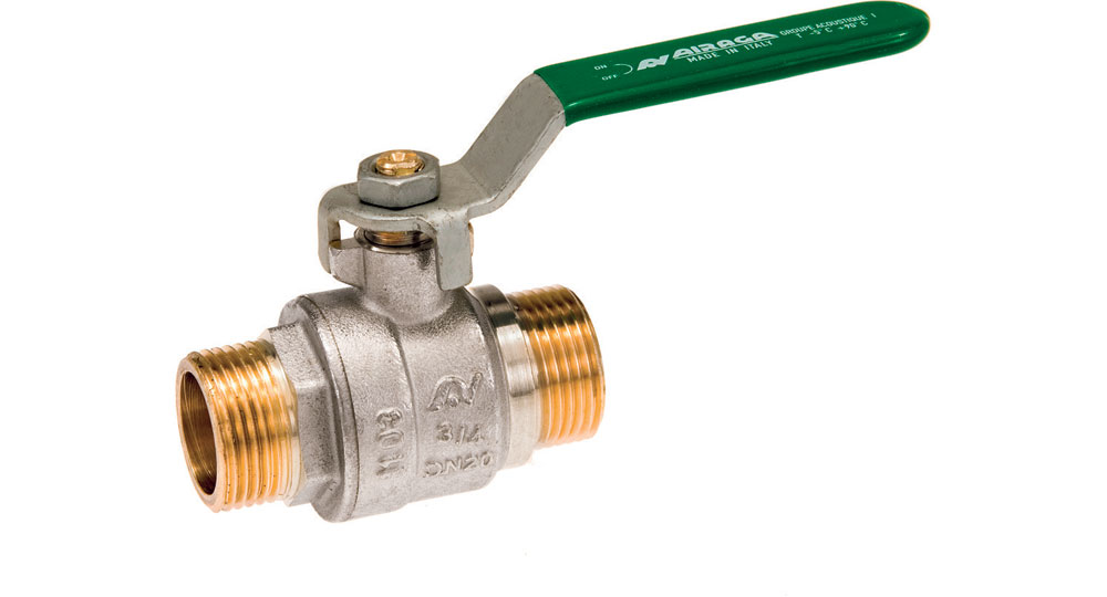 Ecological ball valve full bore M.M. with green handle (screwed iron).