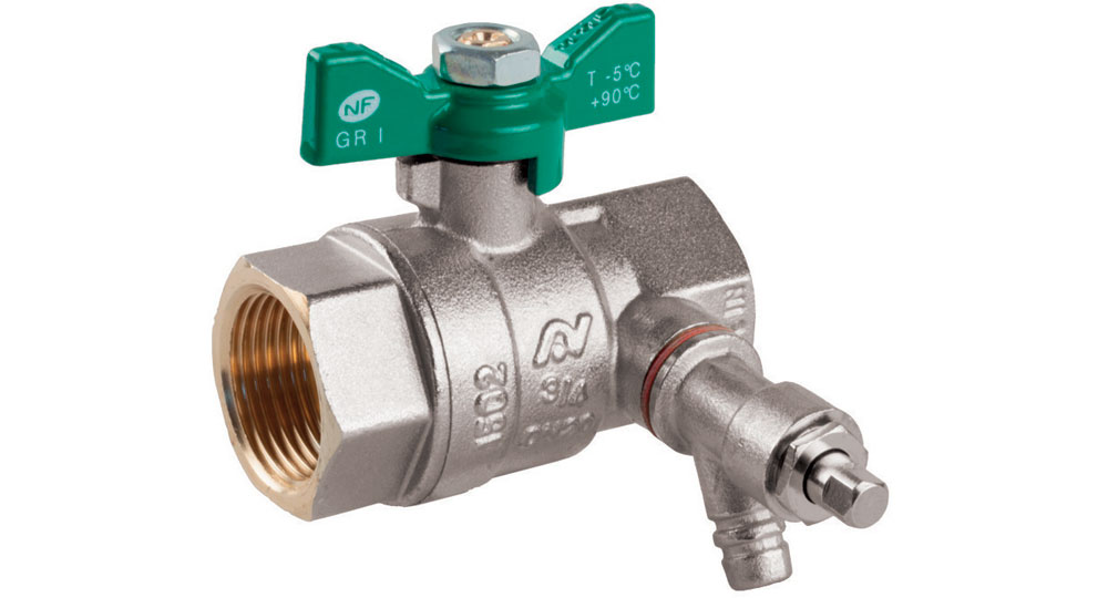 Ecological ball valve full bore f.f. with plugand drain cock, green butterfly handle.