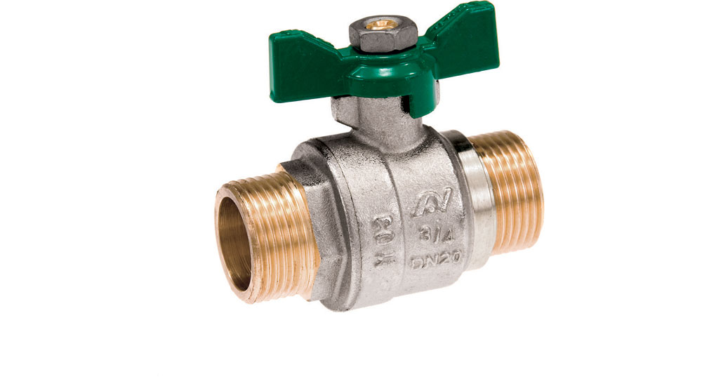 Ecological ball valve full bore m.m.  with green butterfly handle.