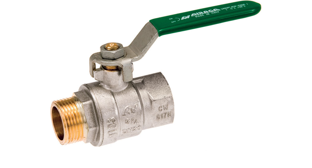 Ecological ball valve full bore M.F. with green handle (screwed iron).