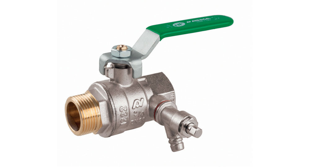 Ecological ball valve full bore M.F. with plugand drain cock, green handle (screwed iron).