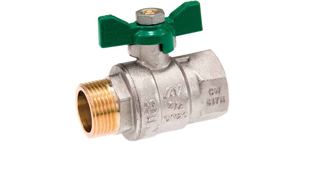 Ecological ball valve full bore M.F. with green butterfly handle.