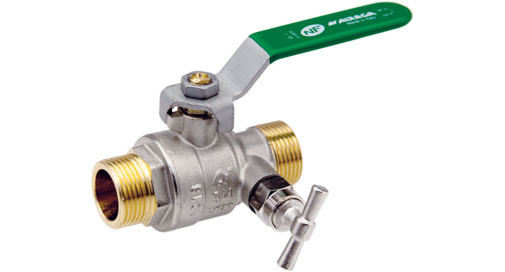 Ecological ball valve full bore M.M. with plugand drain cock, green handle (screwed iron).