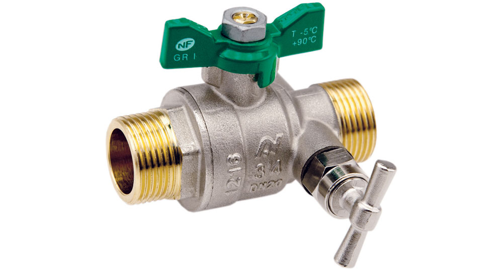 Ecological ball valve full bore m.m. with plug  and drain cock, green butterfly handle.