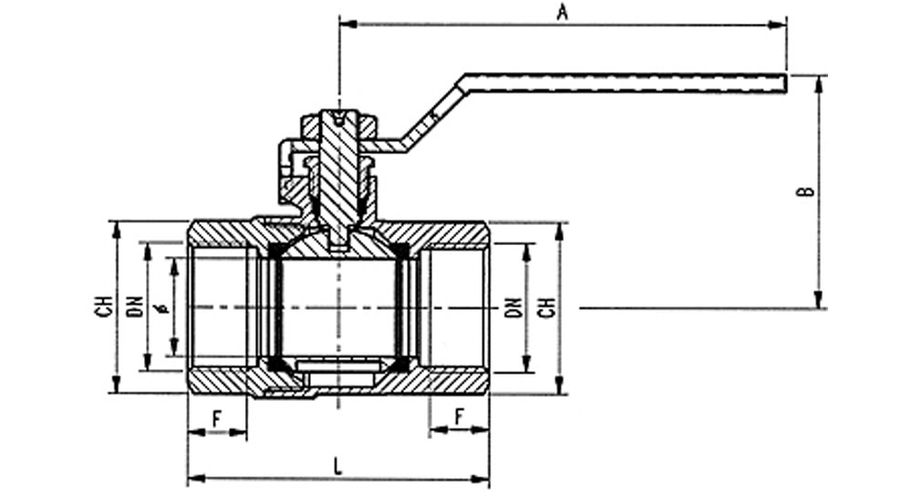Ball valve standard bore F.F. with red handle (screwed iron).