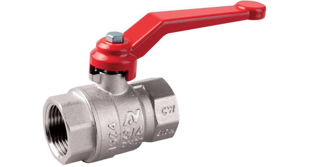 Ball valve standard bore F.F. with red aluminium lever handle.