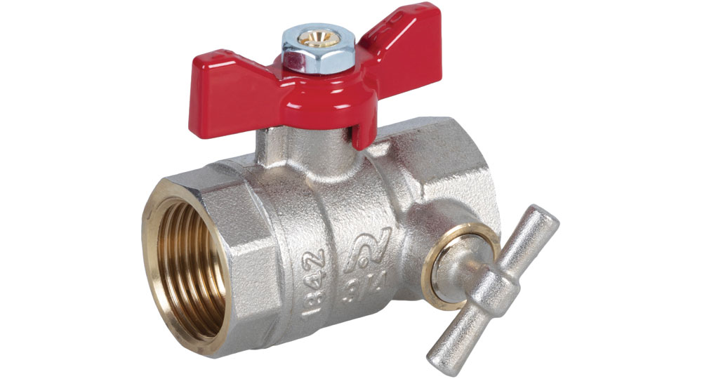 Ball valve standard bore F.F. with integrated drain function red butterfly handle.