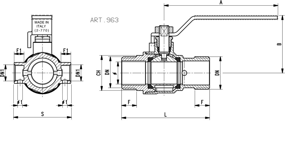 Ball valve standard bore M.M. with integrated drain function - red handle (screwed iron).