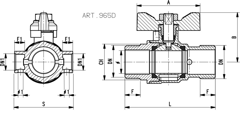 Ball valve standard bore M.M. with integrated drain function - red butterfly handle.