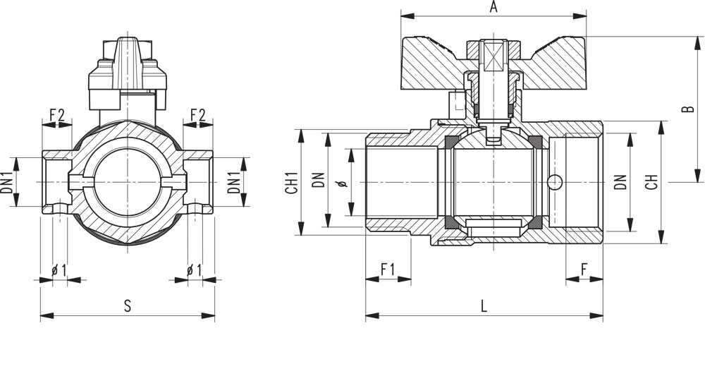 Ball valve standard bore M.F. with integrated drain function - red butterfly handle.