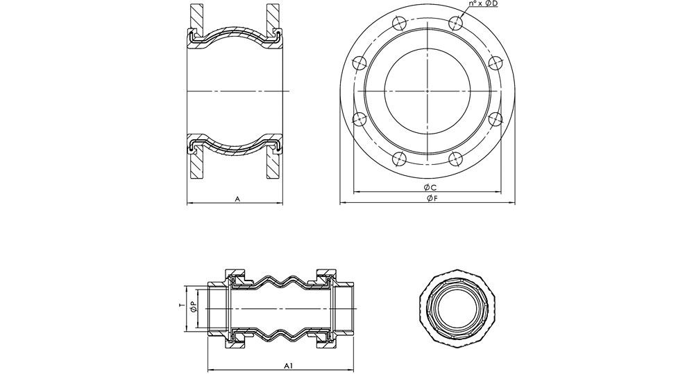 Flanged espansion joints. (GIUNTO/F8) Espansion joints F.F. screwed ends. (GIUNTO/T8)