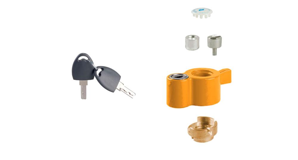 """KIT post installazione con serratura di sicurezza:  per serie AIRAGAS  per valvole con perno filettato maschio M8x1  per valvole con perno filettato femmina M5  per valvole misura ½"""" - ¾"""" - 1"""""""