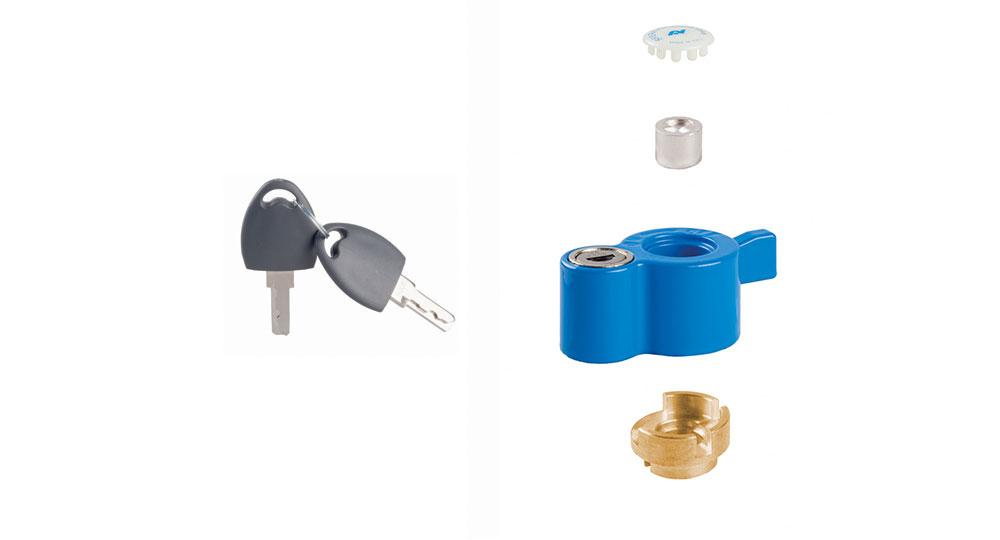 """KIT post installazione con serratura di sicurezza:  per serie DREAM-FANS-COMPACT  per valvole con perno filettato maschio M8x1  per valvole misura ½"""" - ¾"""" - 1"""""""