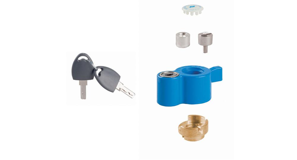 """KIT post installazione con serratura di sicurezza:  per serie DREAM-FANS-COMPACT  per valvole con perno filettato maschio M8x1  per valvole con perno filettato femmina M5  per valvole misura ½"""" - ¾"""" - 1"""""""