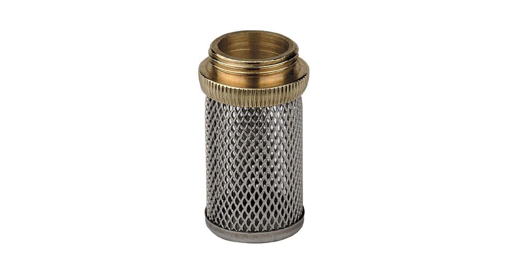 Filtro in acciaio inox con raccordo in ottone filettato.
